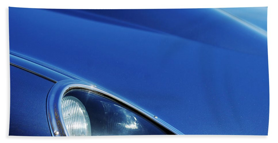 Transportation Hand Towel featuring the photograph 1963 Jaguar Xke Roadster Headlight by Jill Reger