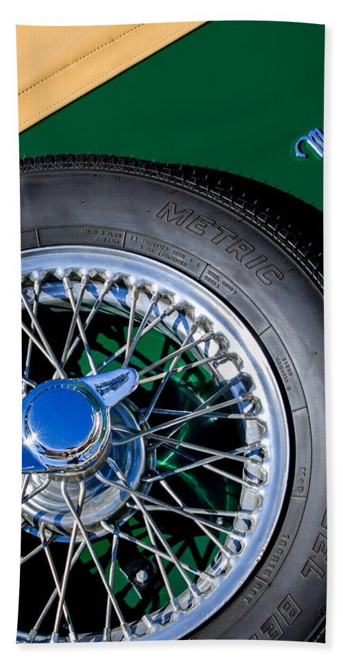 1964 Morgan 44 Spare Tire Emblem Bath Sheet featuring the photograph 1964 Morgan 44 Spare Tire by Jill Reger