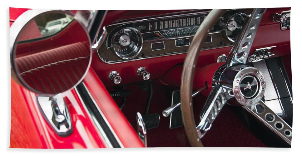 1965 Hand Towel featuring the photograph 1965 Ford Mustang Fastback Dash by Glenn Gordon