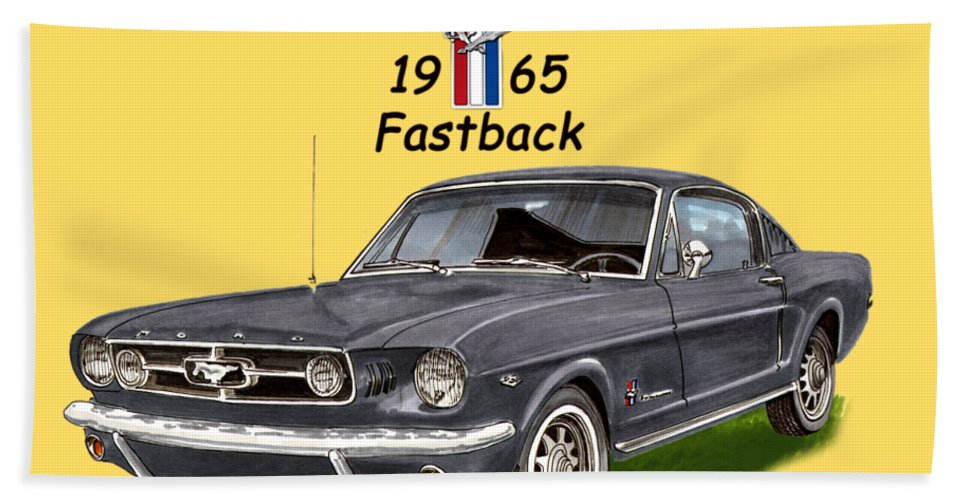 1965 Bath Sheet featuring the painting Mustang Fastback 1965 by Jack Pumphrey