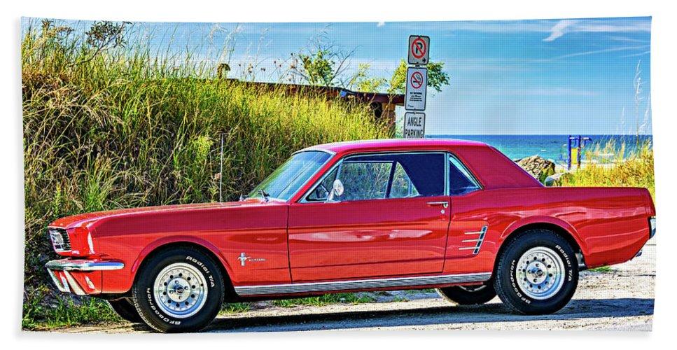 Steve Harrington Bath Towel featuring the photograph 1965 Mustang 1965 by Steve Harrington