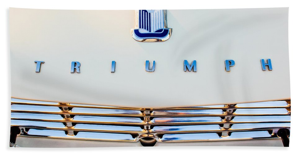 1965 Triumph Tr-4 Hand Towel featuring the photograph 1965 Triumph Tr-4 Hood Ornament by Jill Reger