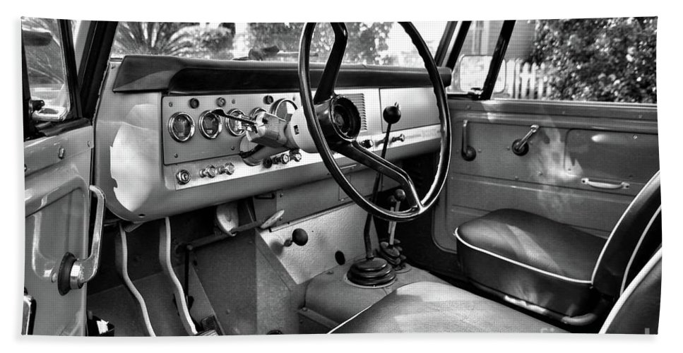 1966 Bath Sheet featuring the photograph 1966 International Scout Driver's Side B by John Myers