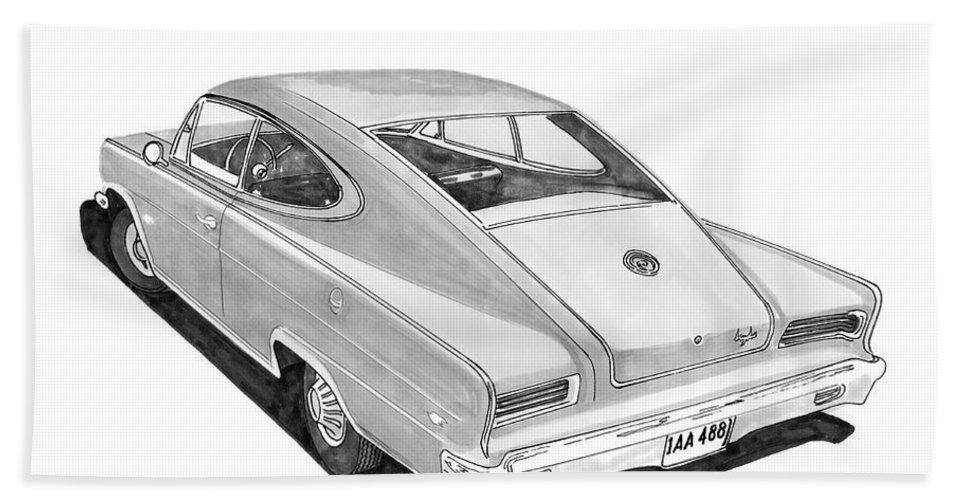 Very Rare Sleek Car By Nash Bath Sheet featuring the painting 1966 Marlin By Nash by Jack Pumphrey