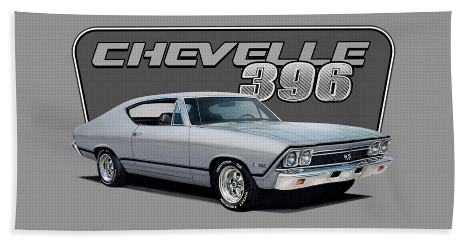 Chevrolet Hand Towel featuring the drawing 1968 Chevrolet Chevelle by Paul Kuras