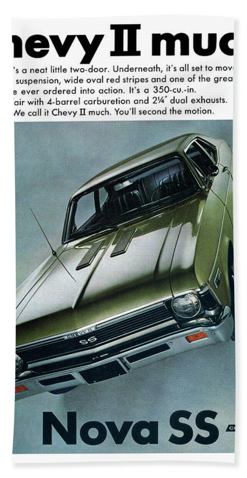1968 Hand Towel featuring the digital art 1968 Chevy Nova Ss by Digital Repro Depot