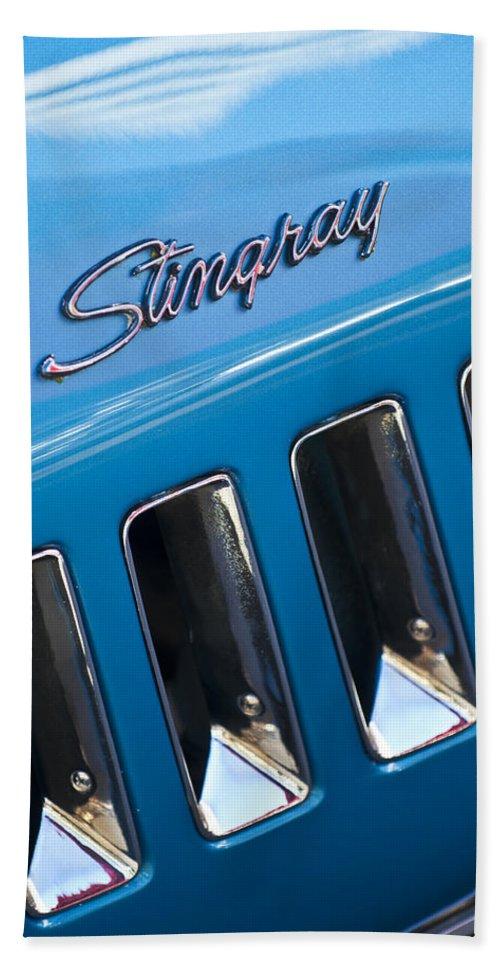 1969 Chevrolet Corvette Stingray Bath Sheet featuring the photograph 1969 Chevrolet Corvette Stingray Emblem by Jill Reger