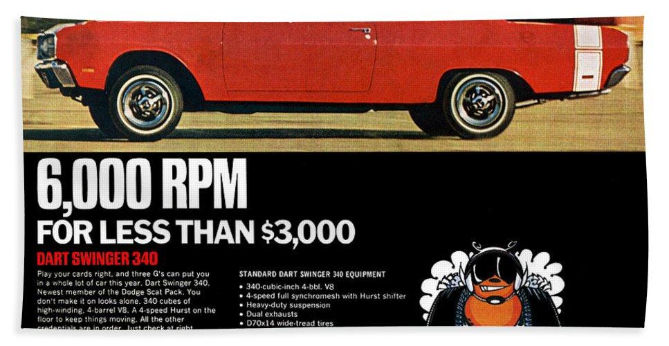 1969 Hand Towel featuring the digital art 1969 Dodge Dart Swinger 340 by Digital Repro Depot