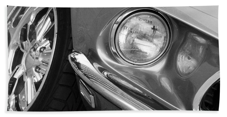 Transportation Bath Sheet featuring the photograph 1969 Ford Mustang Mach 1 Front Black And White by Jill Reger