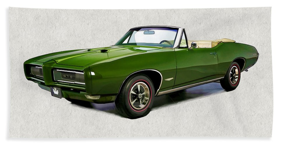 Muscle Car Hand Towel featuring the painting 1969 Green Pontiac Gto Convertible by Elaine Plesser