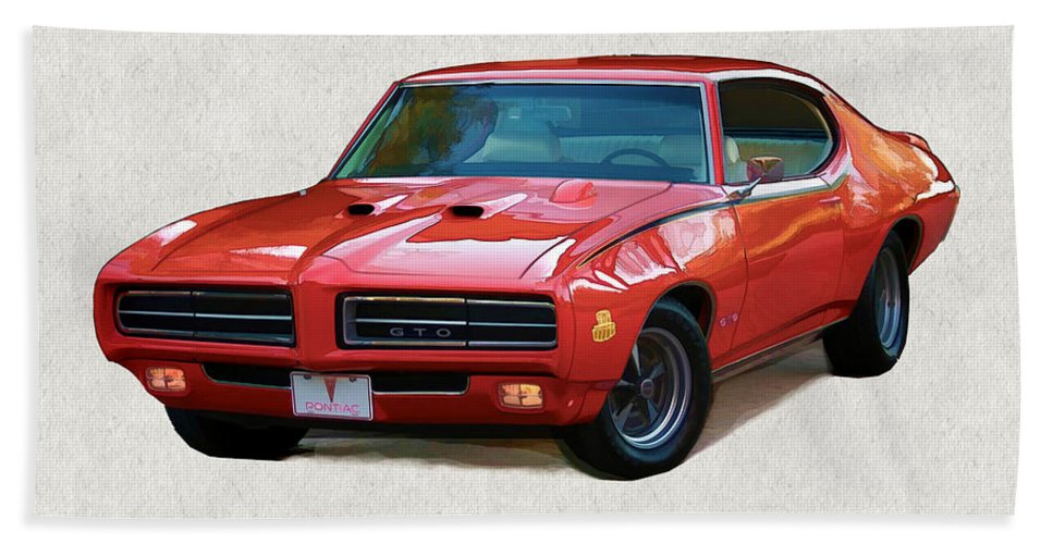 Muscle Car Hand Towel featuring the painting 1969 Red Pontiac Gto The Judge by Elaine Plesser