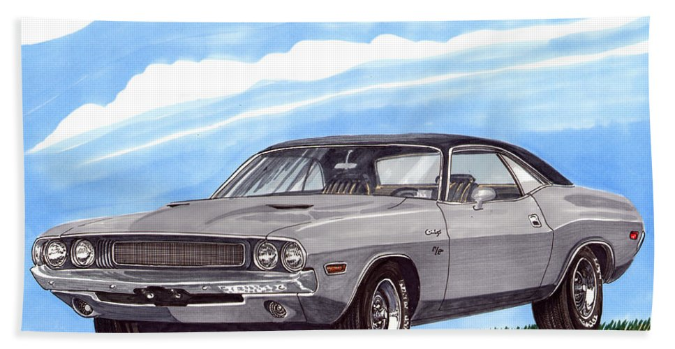 1970 Dodge Challenger. Great Muscle Cars Of The Seventies Hand Towel featuring the painting 1970 Dodge Challenger by Jack Pumphrey