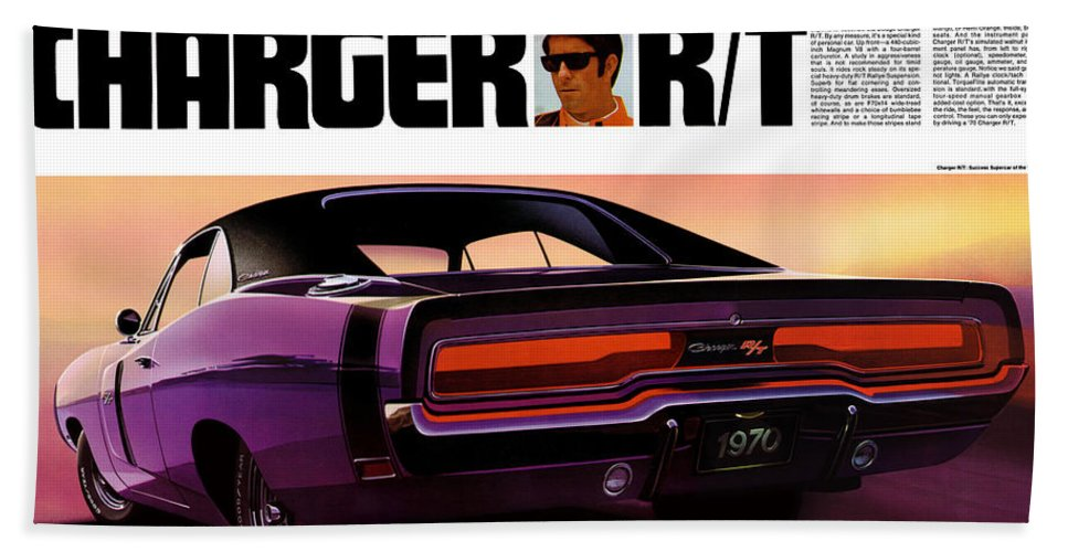 1970 Hand Towel featuring the digital art 1970 Dodge Charger Rt by Digital Repro Depot