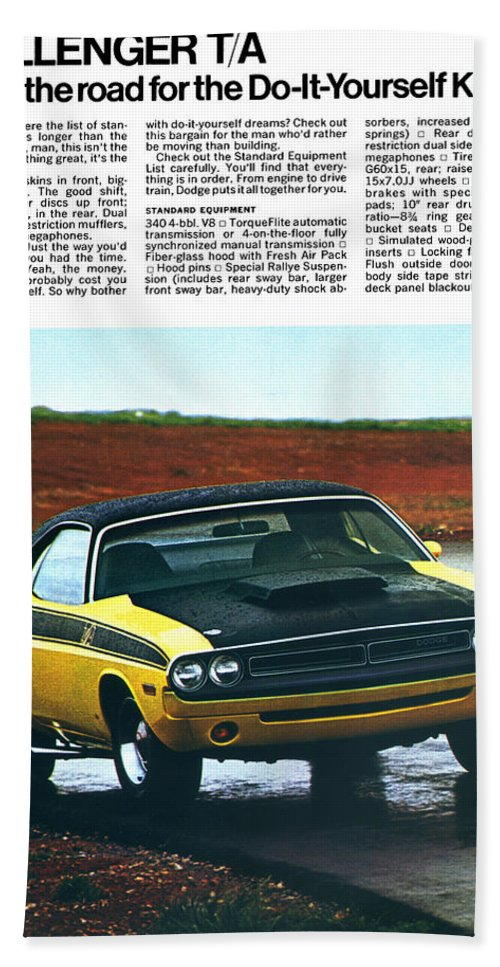 1971 Hand Towel featuring the digital art 1971 Dodge Challenger T/a by Digital Repro Depot