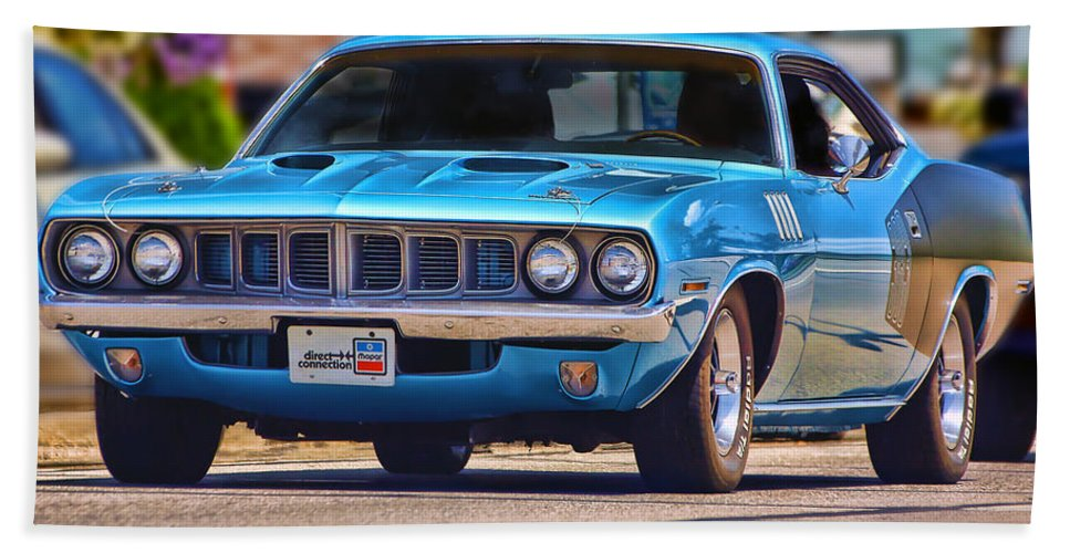 Blue Hand Towel featuring the photograph 1971 Plymouth 'cuda 383 by Gordon Dean II