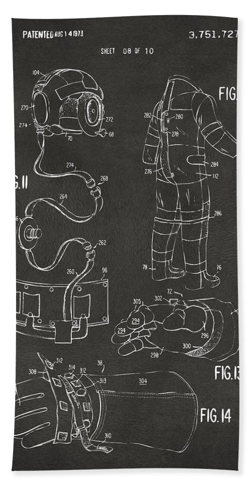 Space Suit Bath Towel featuring the digital art 1973 Space Suit Elements Patent Artwork - Gray 1973 by Nikki Marie Smith
