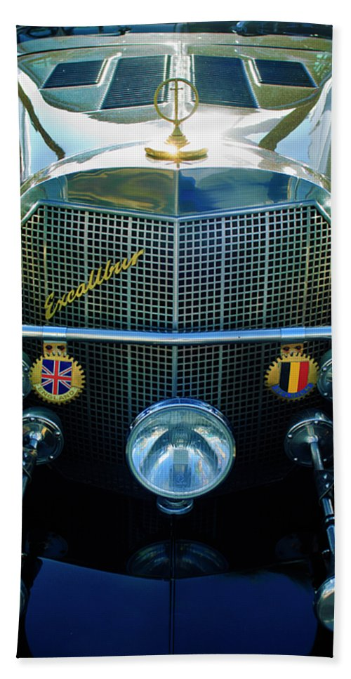 1984 Excalibur Roadster Bath Sheet featuring the photograph 1984 Excalibur Roadster Grille by Jill Reger