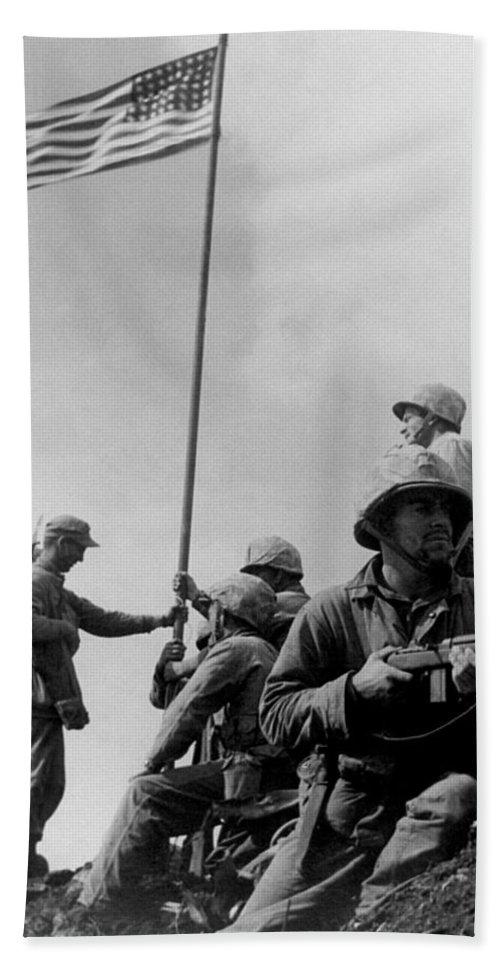 Iwo Jima Bath Sheet featuring the photograph 1st Flag Raising On Iwo Jima by War Is Hell Store