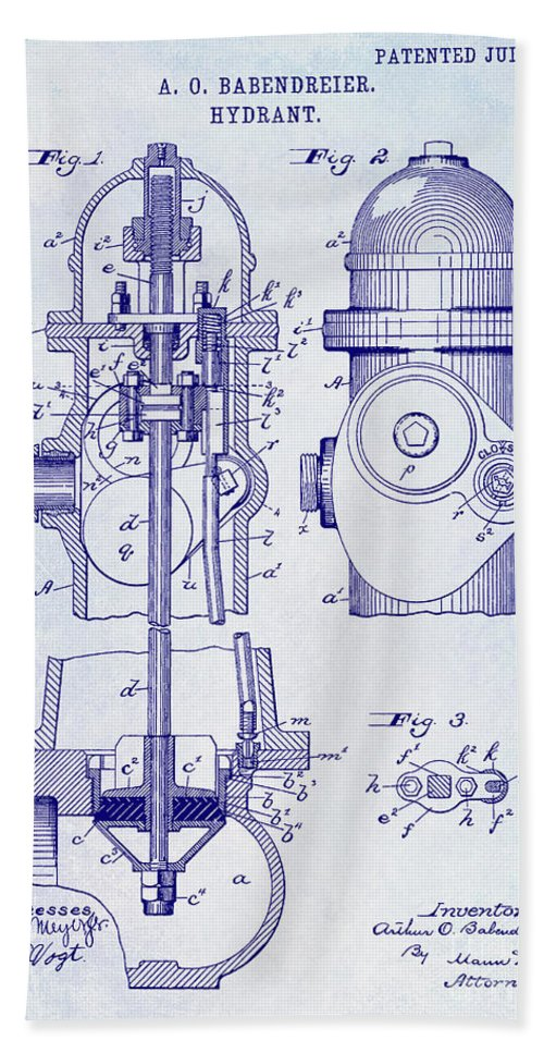 Fire Patent Drawing Bath Towel featuring the photograph 1903 Fire Hydrant Patent by Jon Neidert