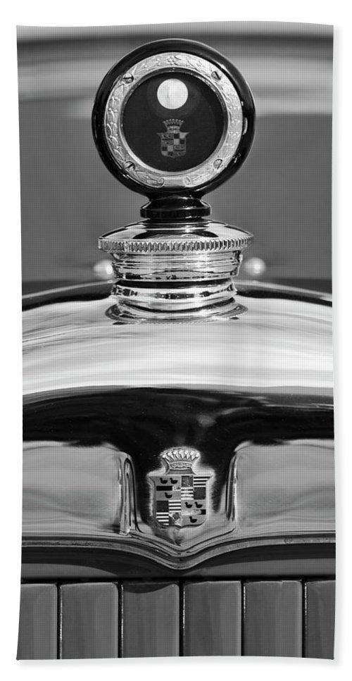 1926 Cadillac Series 314 Custom Hand Towel featuring the photograph 1926 Cadillac Series 314 Custom Hood Ornament by Jill Reger