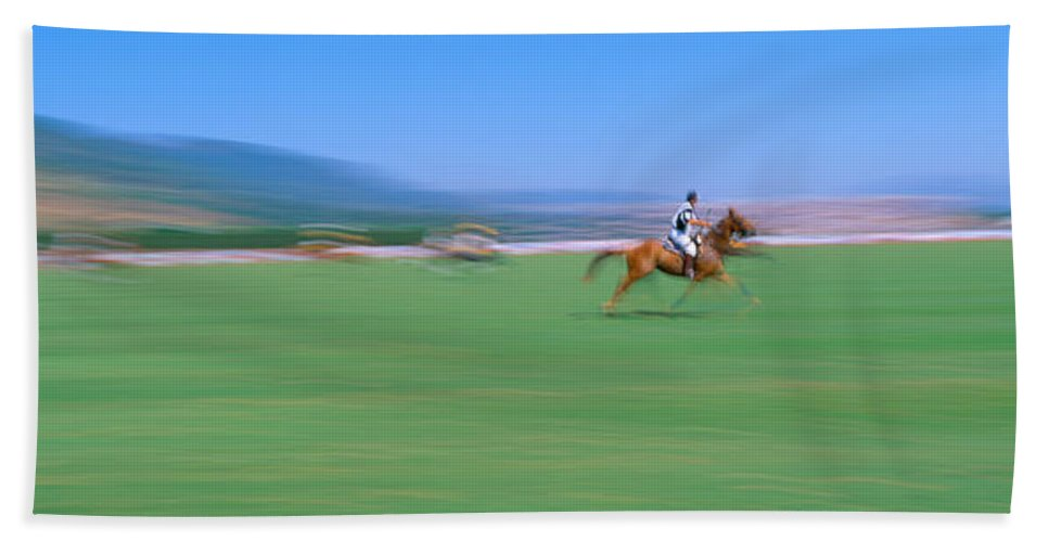 Photography Bath Sheet featuring the photograph 1998 World Polo Championship, Santa by Panoramic Images