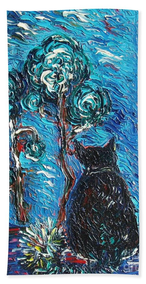 Cat Paintings Hand Towel featuring the painting A Black Cat by Seon-Jeong Kim