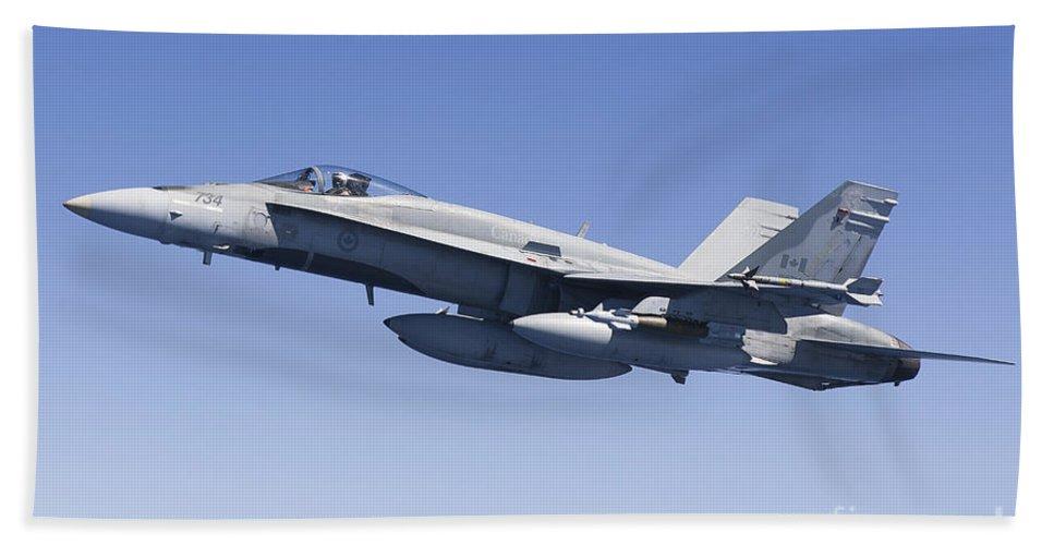 Libya Bath Sheet featuring the photograph A Cf-188a Hornet Of The Royal Canadian by Gert Kromhout
