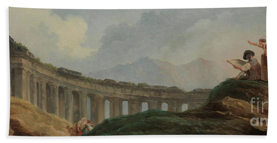 Capriccio Bath Sheet featuring the painting A Colonnade In Ruins by Hubert Robert