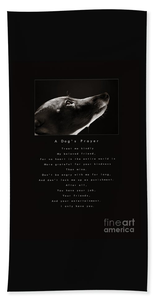 A Dogs Prayer Hand Towel featuring the photograph A Dog's Prayer A Popular Inspirational Portrait And Poem Featuring An Italian Greyhound Rescue by Angela Rath