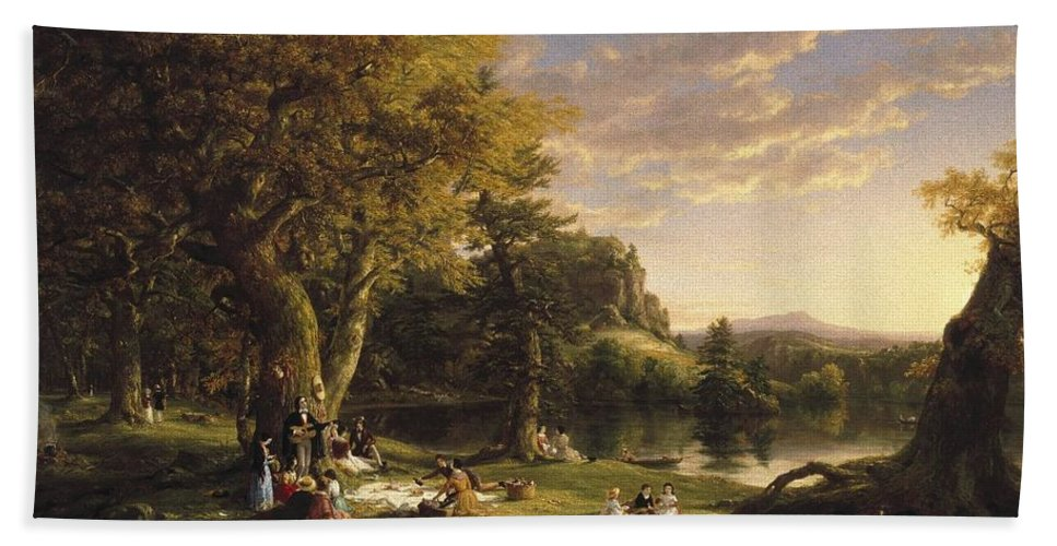 Thomas Cole (american Bath Sheet featuring the painting A Pic Nic Party by Thomas Cole