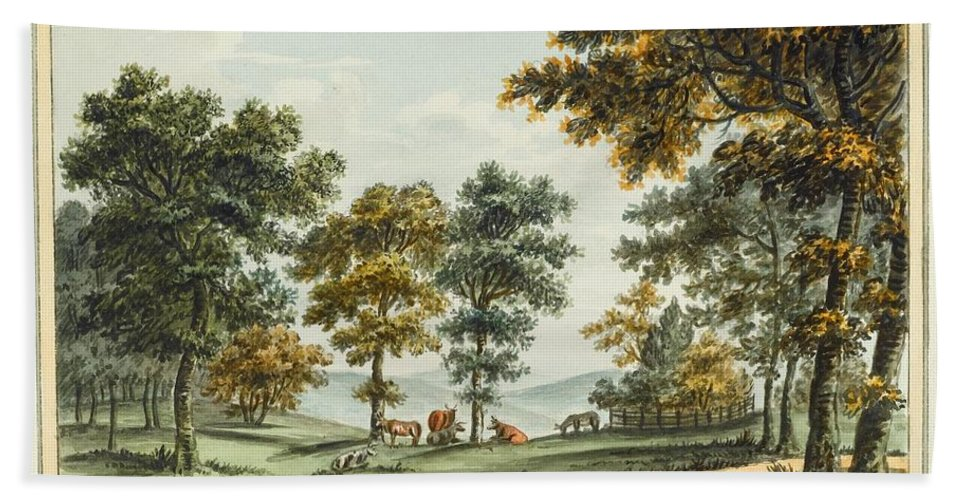 Humphrey Repton (bury St Edmunds 1752 - Romford 1818) Bath Sheet featuring the painting A Scene In The Garden At Brandsbury by Humphrey Repton