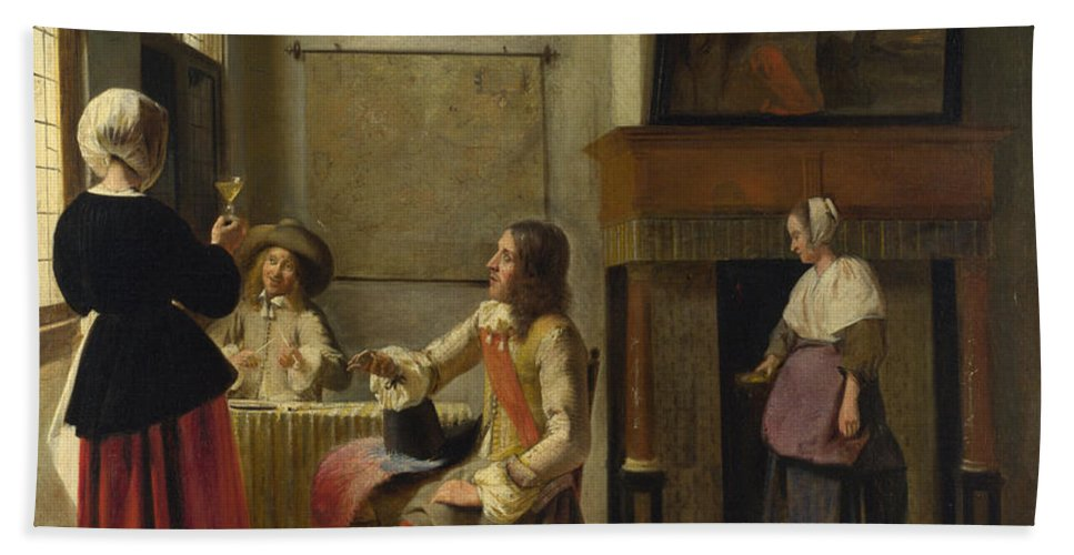 Baroque Hand Towel featuring the painting A Woman Drinking With Two Men by Pieter de Hooch