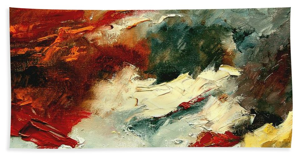 Abstract Bath Towel featuring the painting Abstract 9 by Pol Ledent