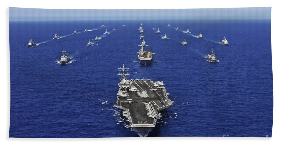 Fleet Hand Towel featuring the photograph Aircraft Carrier Uss Ronald Reagan by Stocktrek Images