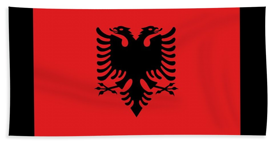 Flag Bath Sheet featuring the digital art Albania Flag by Frederick Holiday
