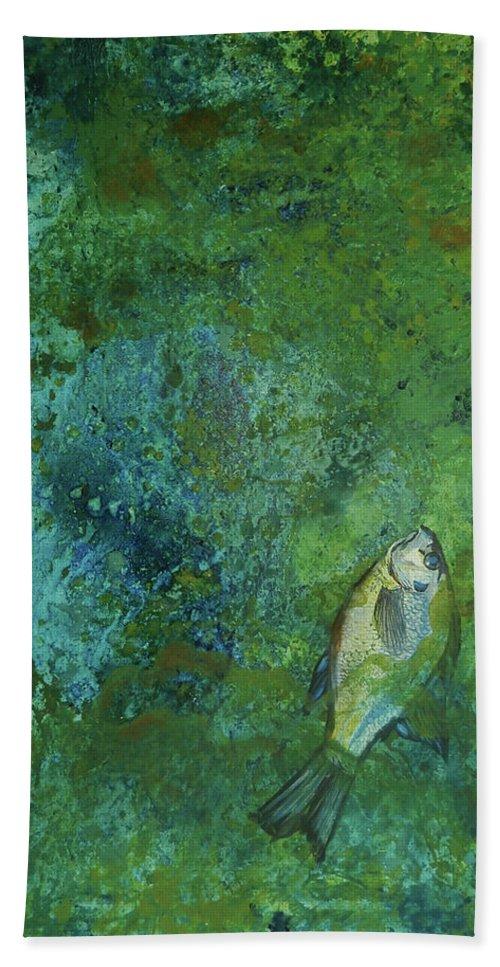 Algae Bloom Bath Sheet featuring the painting Algae Bloom by Art Nomad Sandra Hansen