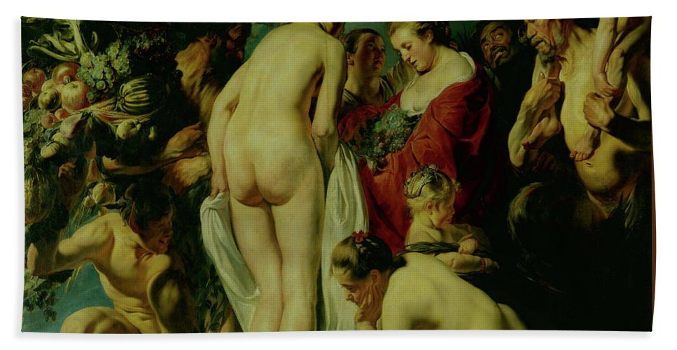 Allegory Hand Towel featuring the painting Allegory Of Fertility by Jacob Jordaens