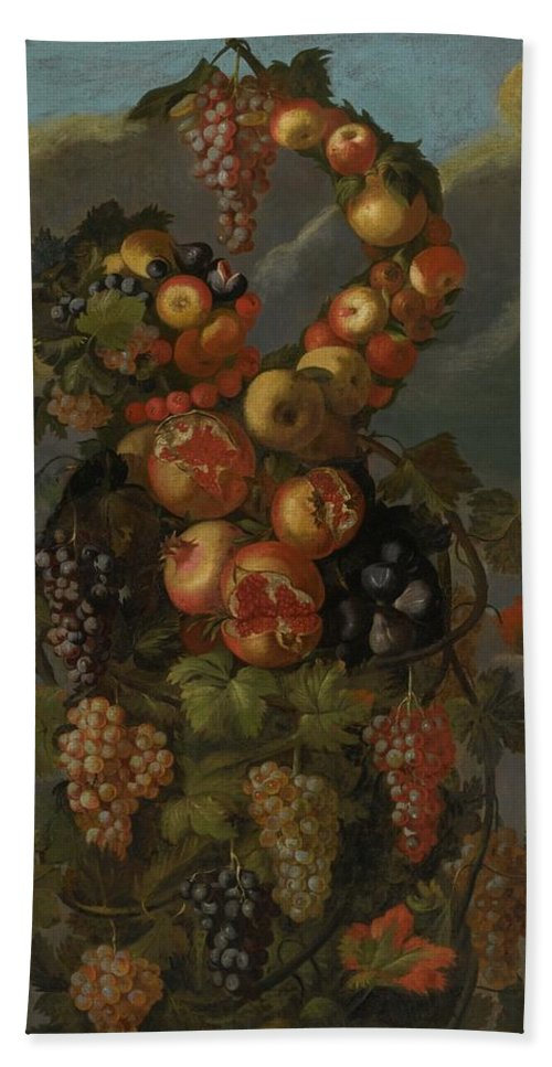Circle Of Giuseppe Arcimboldo Anthropomorphic Allegory Of Autumn Bath Sheet featuring the painting Anthropomorphic Allegory Of Autumn by MotionAge Designs