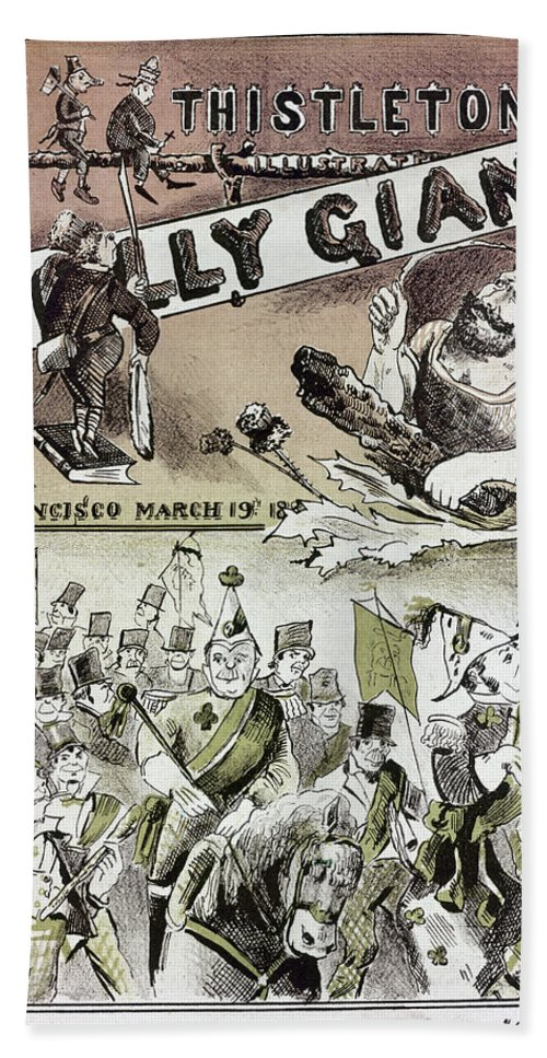 1880 Hand Towel featuring the photograph Anti-immigrant Cartoon by Granger