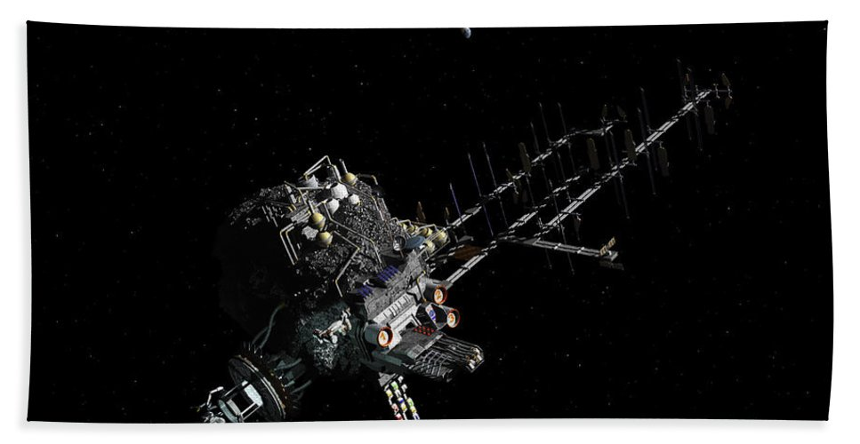 Human Spaceflight Bath Sheet featuring the digital art Asteroid Mining Outpost by Walter Myers