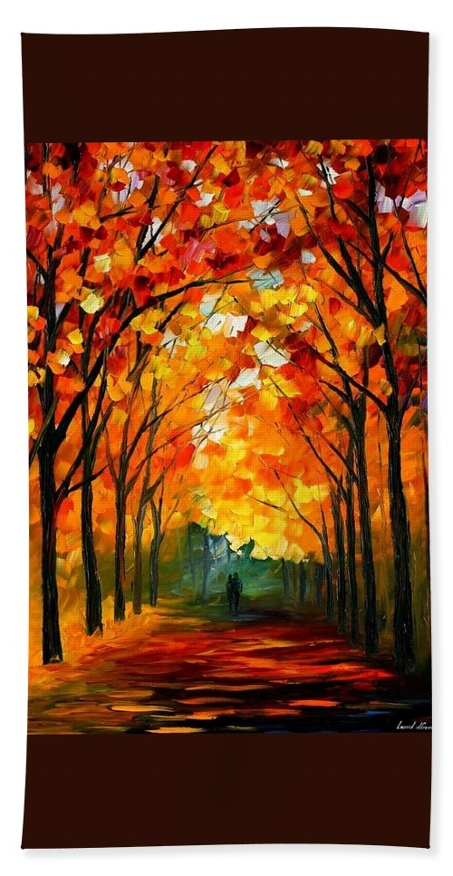 Landscape Bath Sheet featuring the painting Autumn by Leonid Afremov
