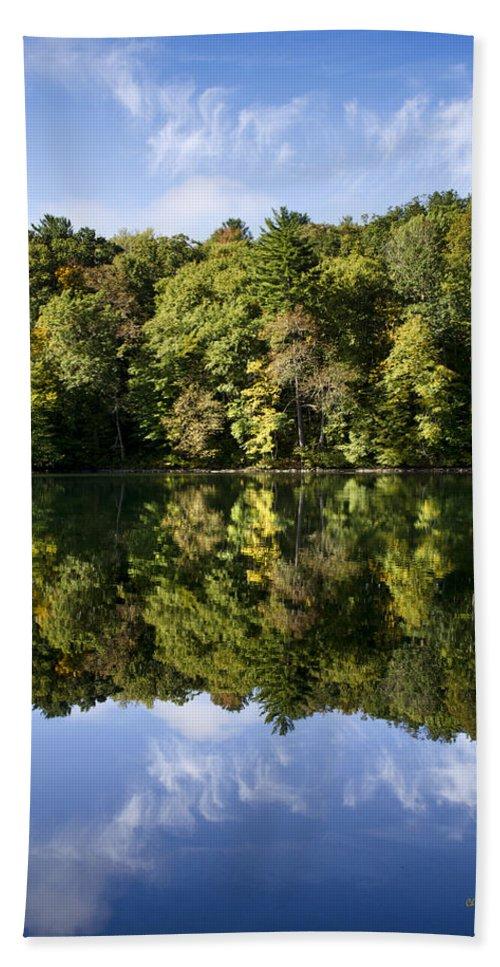 Lake Bath Sheet featuring the photograph Autumn Sunrise Reflection Landscape by Christina Rollo