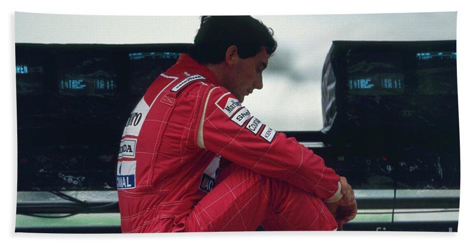 Formula One Hand Towel featuring the photograph Ayrton Senna. 1992 French Grand Prix by Oleg Konin