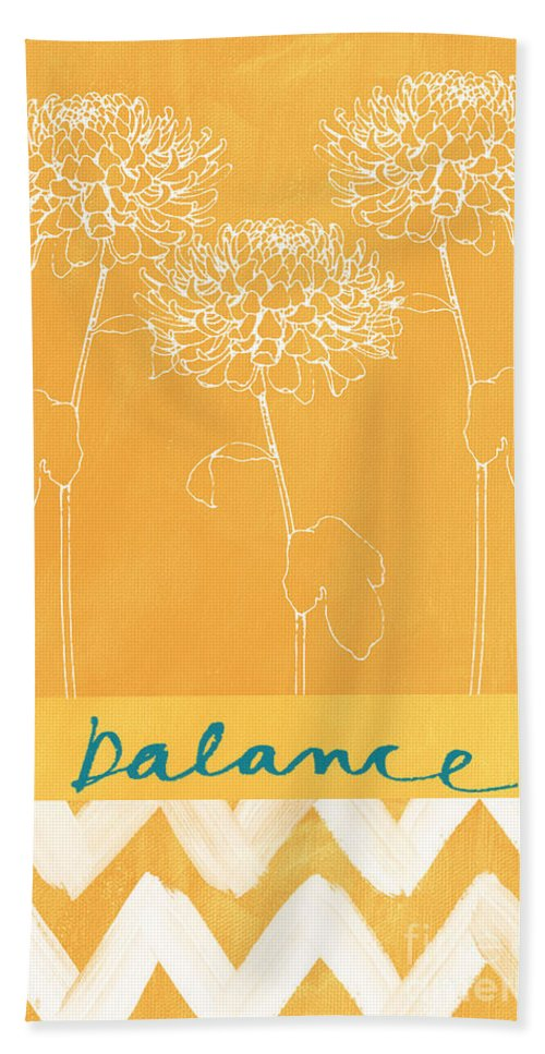 Balance Hand Towel featuring the painting Balance by Linda Woods