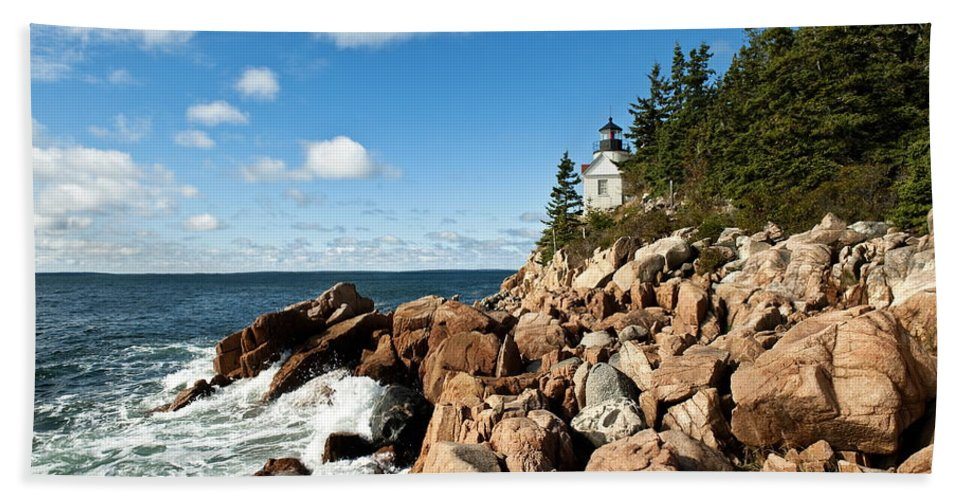 New England Bath Sheet featuring the photograph Bass Harbor Light by John Greim
