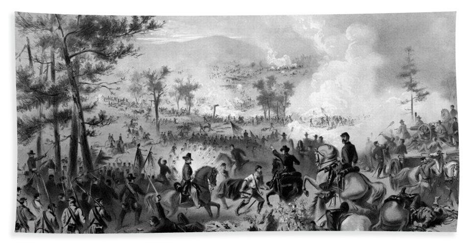 Gettysburg Bath Towel featuring the drawing Battle Of Gettysburg 1 by War Is Hell Store