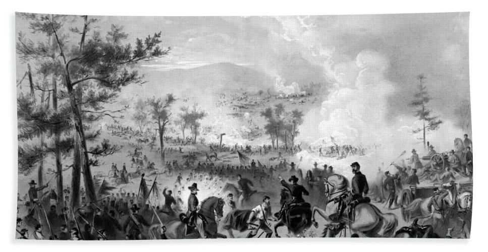 Gettysburg Bath Sheet featuring the drawing Battle Of Gettysburg by War Is Hell Store