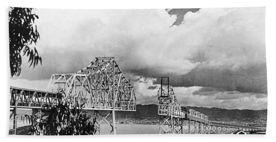 1930s Hand Towel featuring the photograph Bay Bridge Under Construction by Underwood Archives