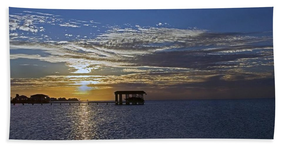 West Bay Hand Towel featuring the photograph Bay Sunset by Robert Brown
