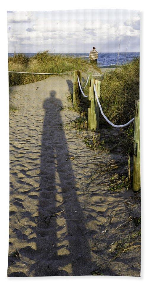 Shadow Bath Sheet featuring the photograph Beach Entry by Fran Gallogly